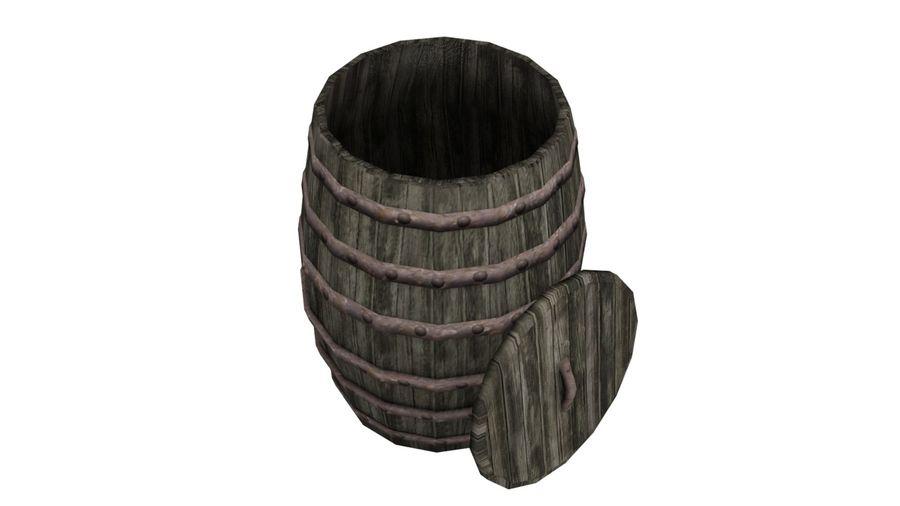 Big wooden barrel royalty-free 3d model - Preview no. 3