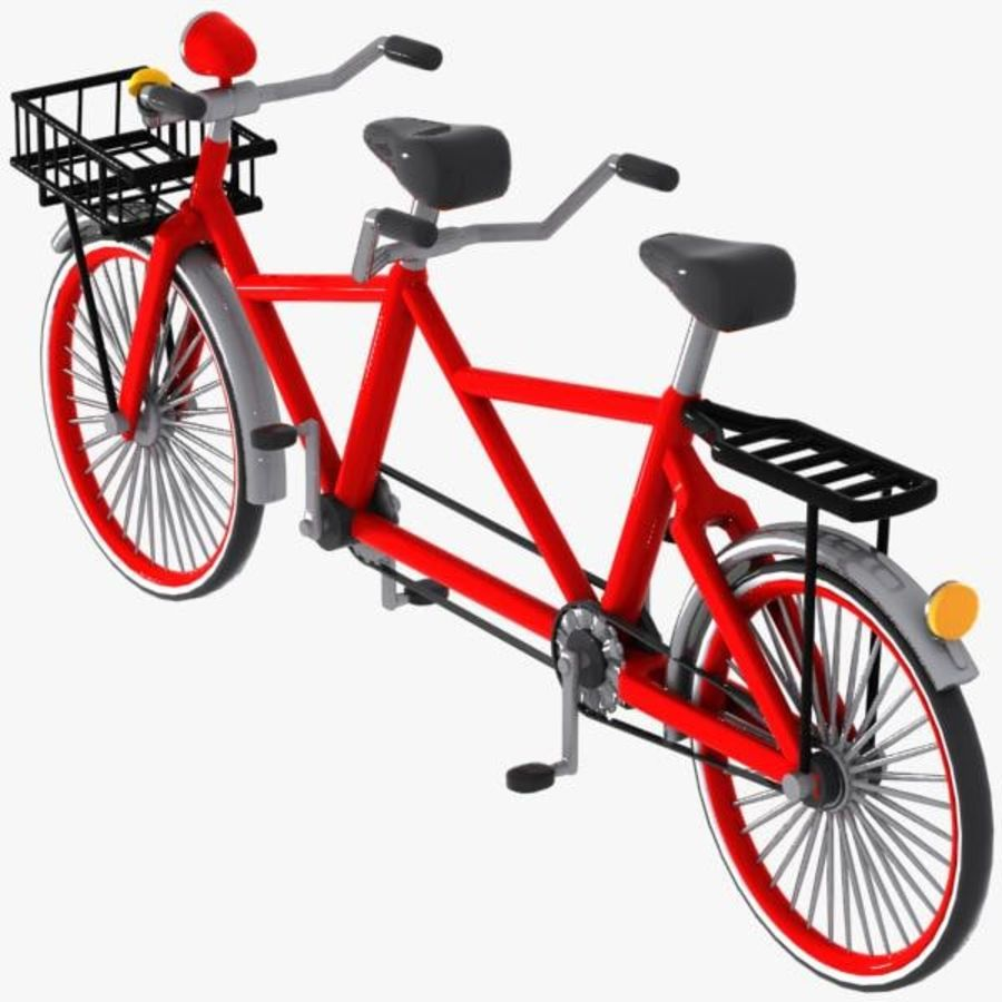 Cartoon Tandem Bicycle royalty-free 3d model - Preview no. 6