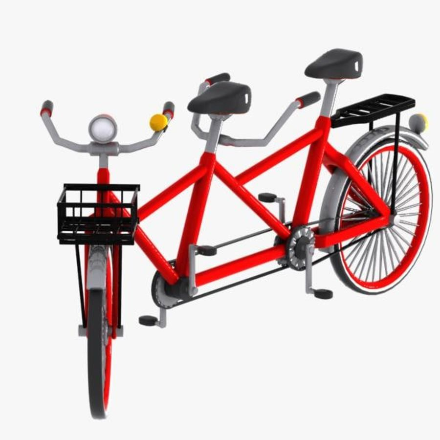 Cartoon Tandem Bicycle royalty-free 3d model - Preview no. 9