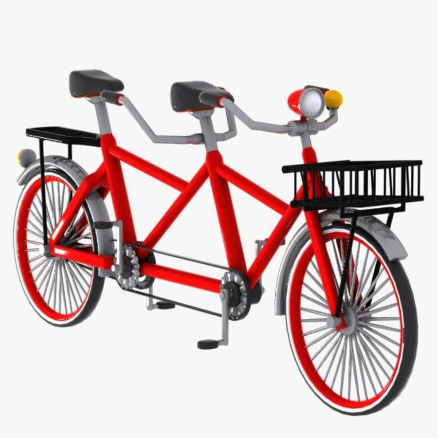Cartoon Tandem Bicycle royalty-free 3d model - Preview no. 3