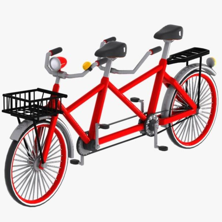Cartoon Tandem Bicycle royalty-free 3d model - Preview no. 8