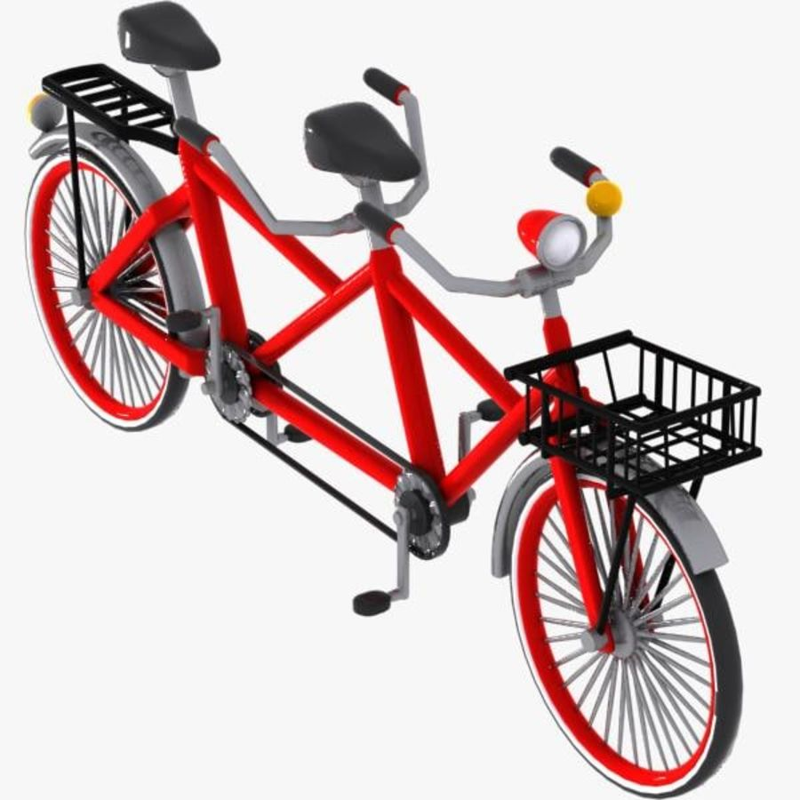Cartoon Tandem Bicycle royalty-free 3d model - Preview no. 1