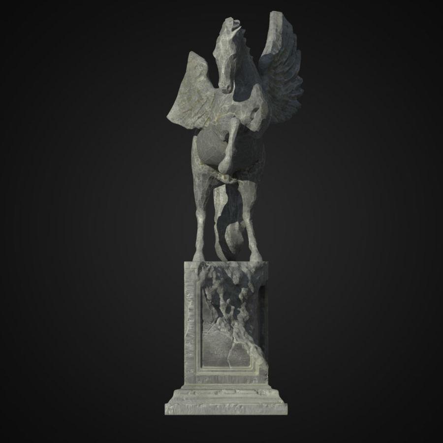 Ruin Statue Pegasus royalty-free 3d model - Preview no. 5
