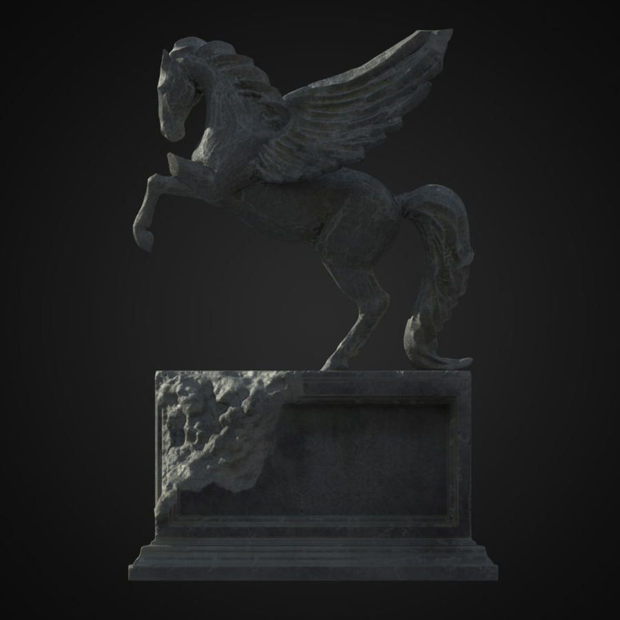 Ruin Statue Pegasus royalty-free 3d model - Preview no. 4