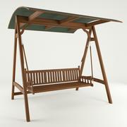 Wooden garden swing 3d model