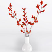Vase with Branches of Berries 3d model