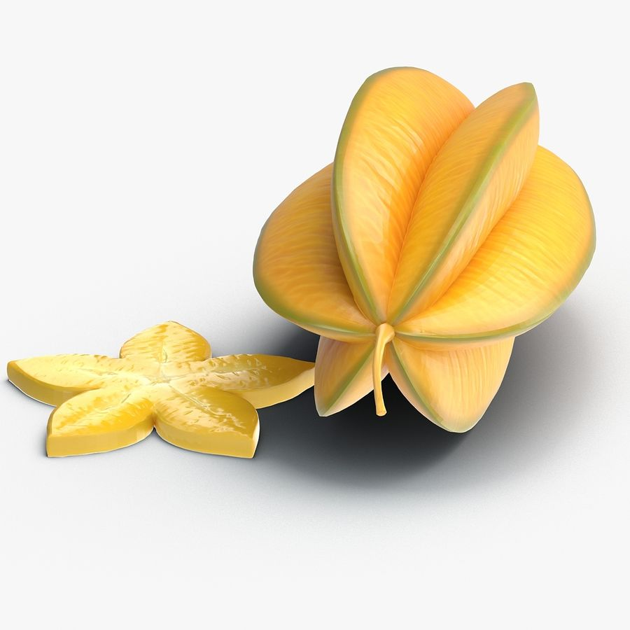 Star Fruit royalty-free 3d model - Preview no. 9