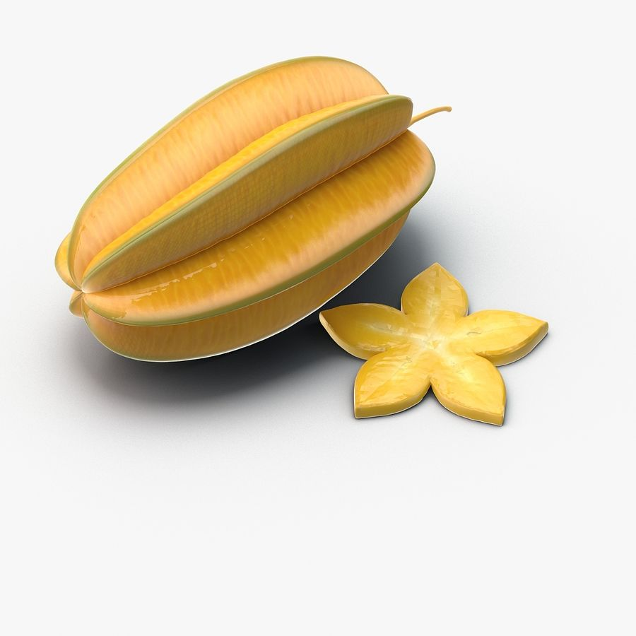 Star Fruit royalty-free 3d model - Preview no. 3
