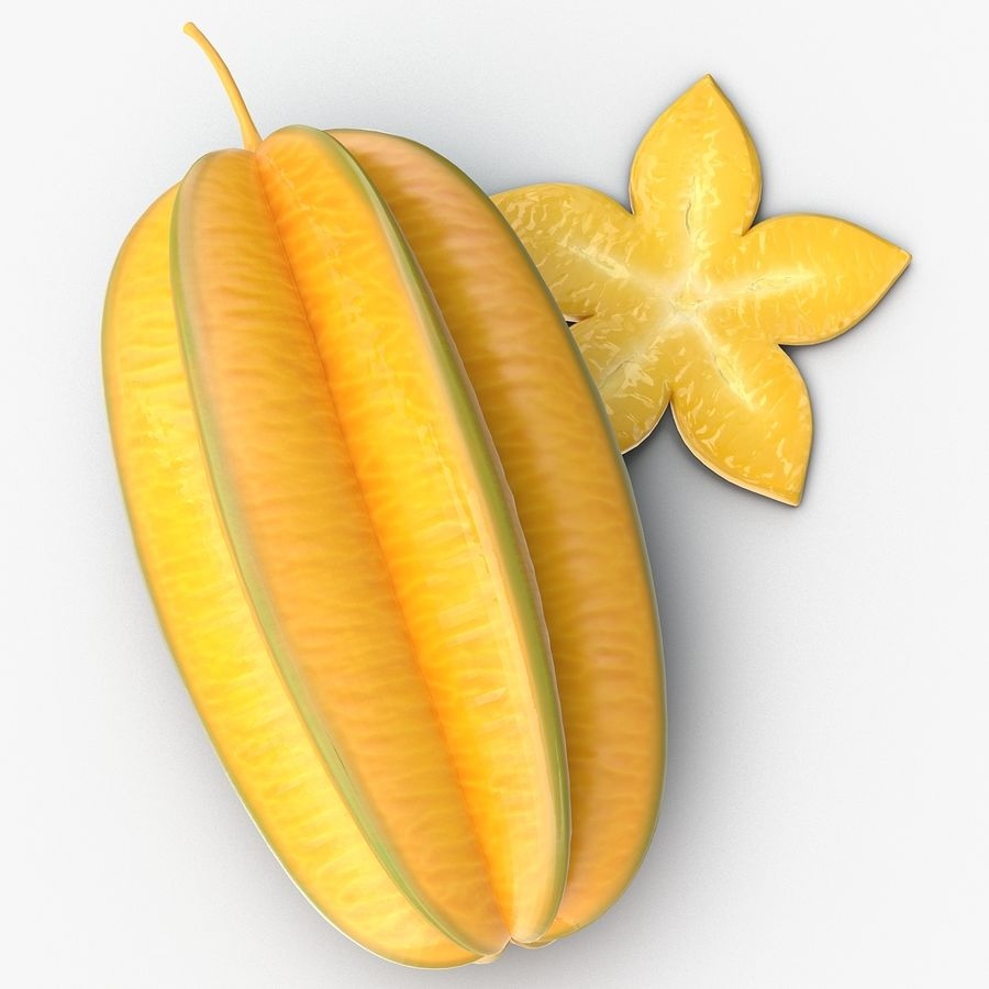 Star Fruit royalty-free 3d model - Preview no. 8