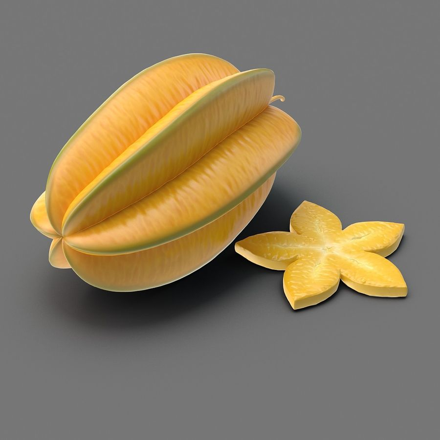 Star Fruit royalty-free 3d model - Preview no. 2