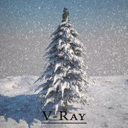 Pijnbomen bedekt met sneeuw V-Ray 3d model