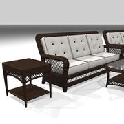 Wicker Furniture Set: 4 Different Colors 3d model