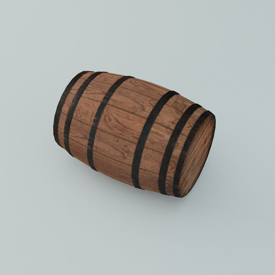 Wooden Cask 01 royalty-free 3d model - Preview no. 2