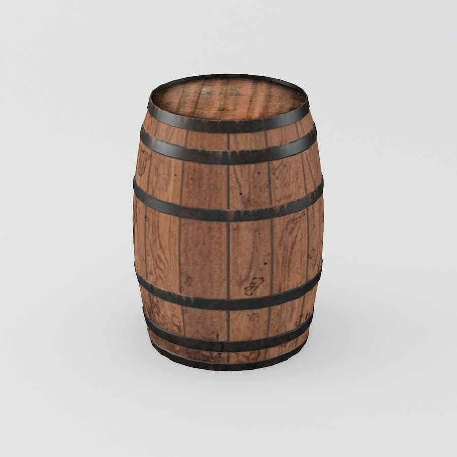Wooden Cask 01 royalty-free 3d model - Preview no. 6