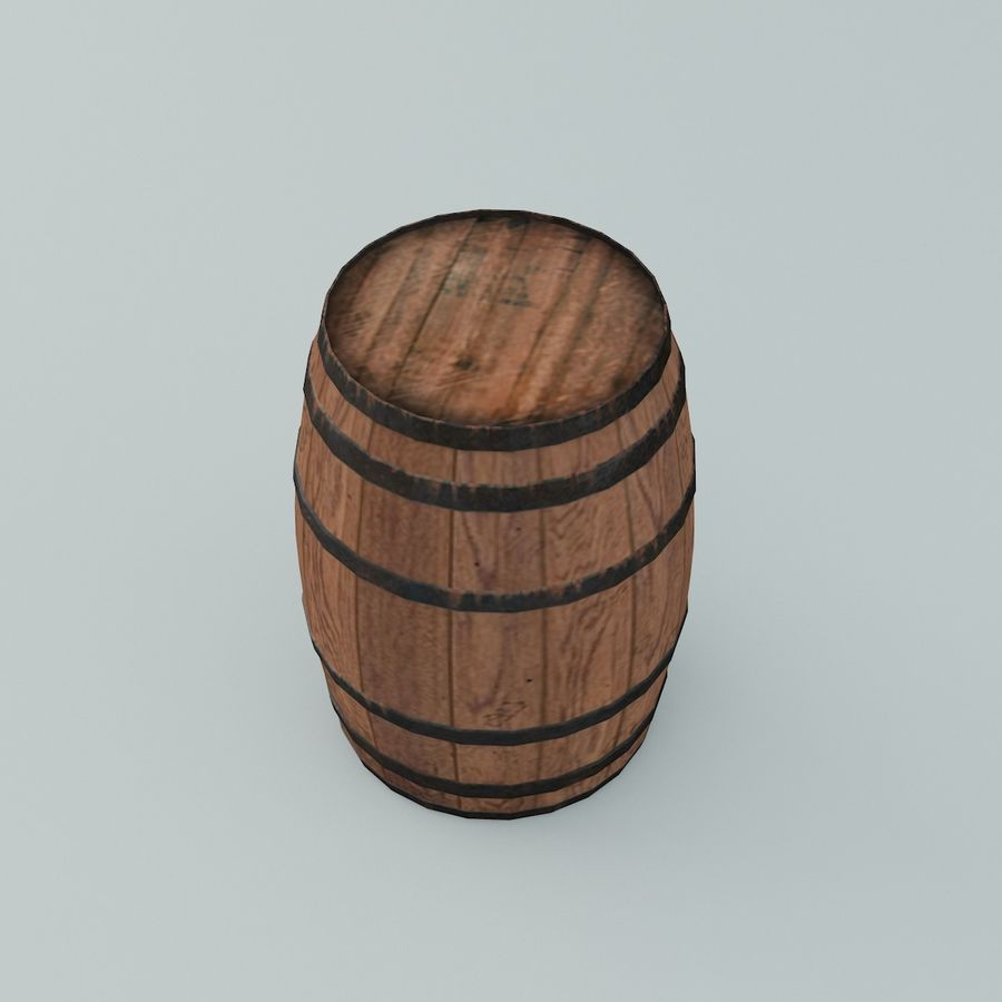 Wooden Cask 01 royalty-free 3d model - Preview no. 3