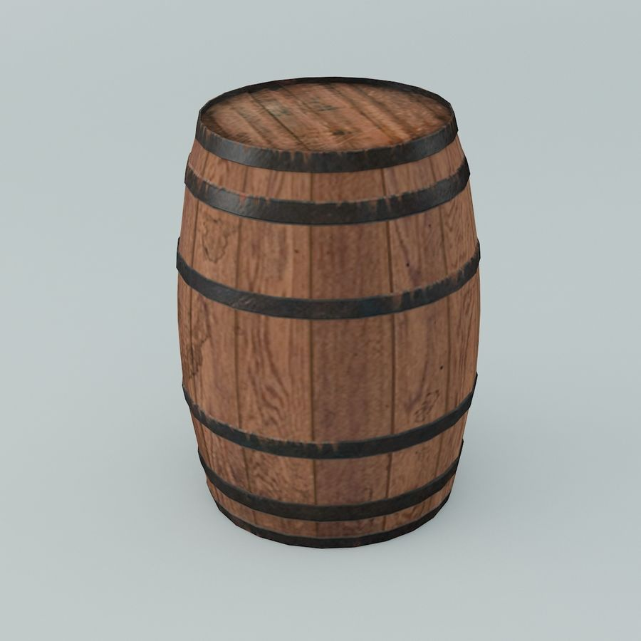 Wooden Cask 01 royalty-free 3d model - Preview no. 4