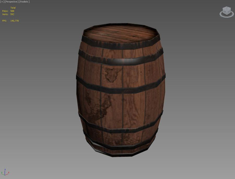 Wooden Cask 01 royalty-free 3d model - Preview no. 7