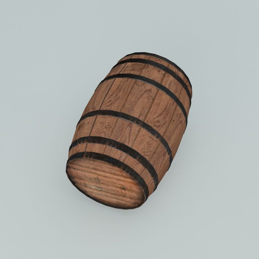 Wooden Cask 01 royalty-free 3d model - Preview no. 5