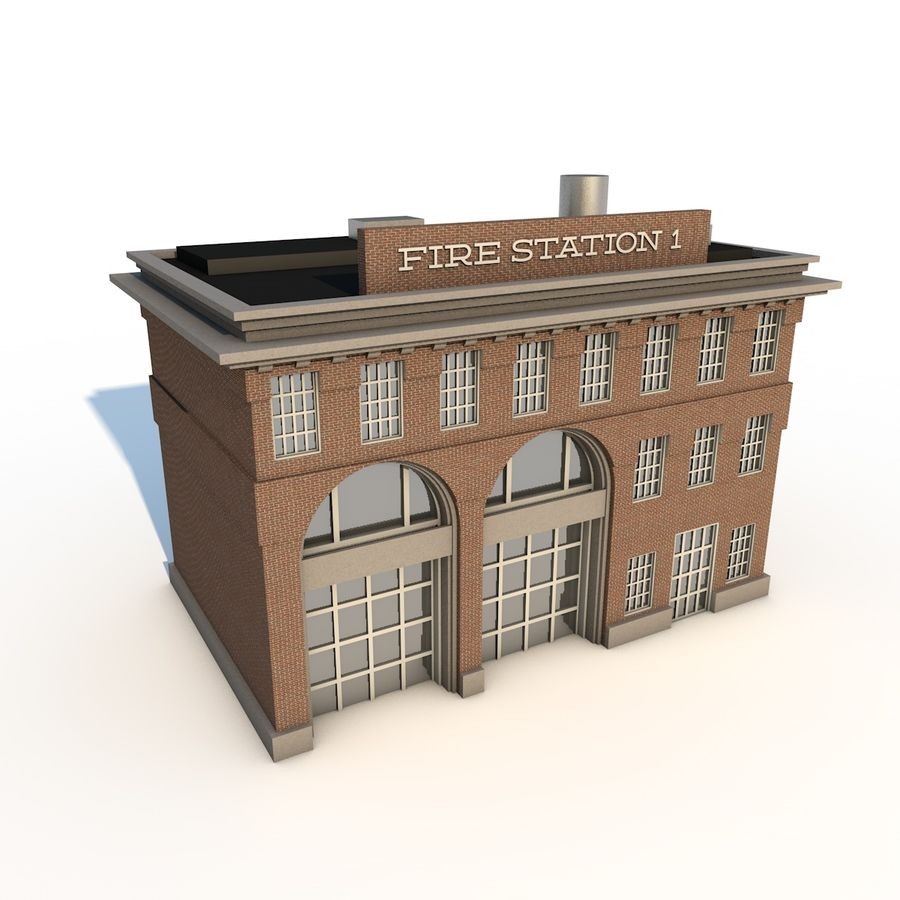 Fire Station royalty-free 3d model - Preview no. 1