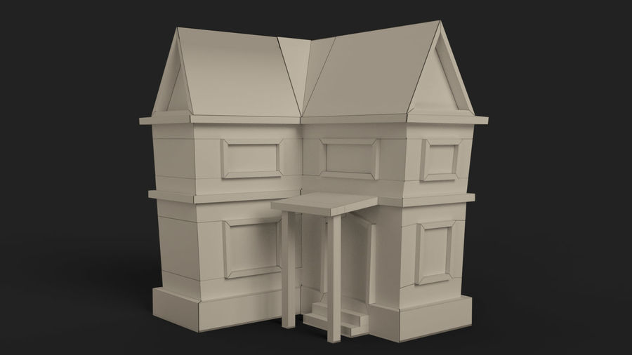 Cartoon House Low poly royalty-free 3d model - Preview no. 13