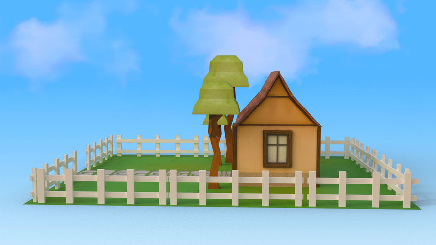 Cartoon House Low poly royalty-free 3d model - Preview no. 3