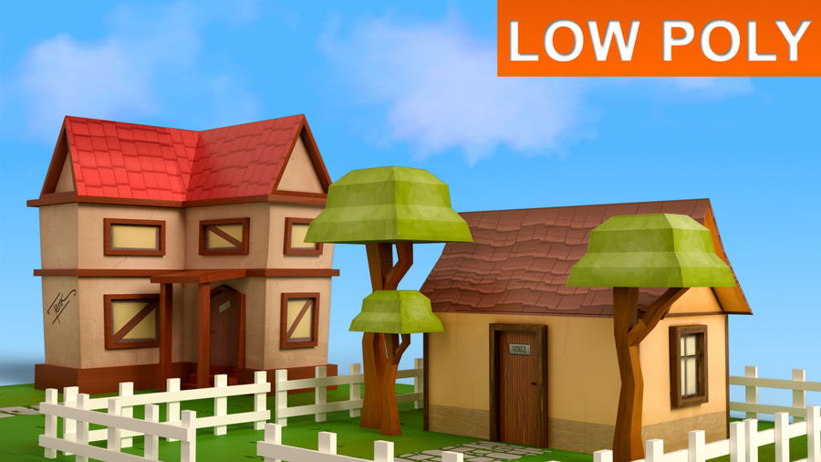 Cartoon House Low poly royalty-free 3d model - Preview no. 1