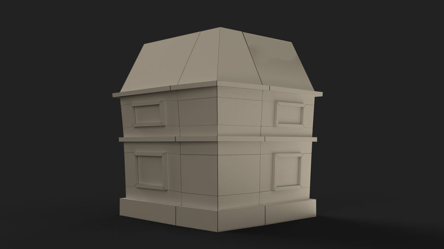 Cartoon House Low poly royalty-free 3d model - Preview no. 14