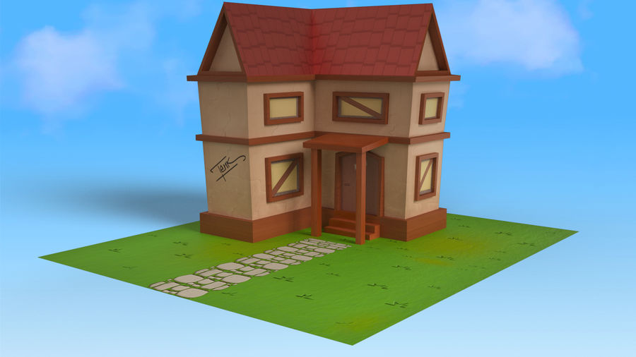 Cartoon House Low poly royalty-free 3d model - Preview no. 7