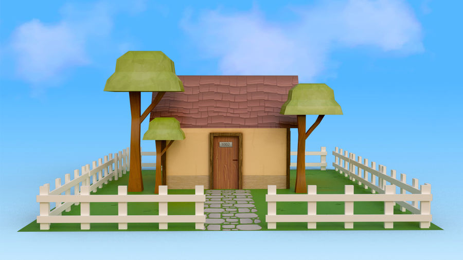 Cartoon House Low poly royalty-free 3d model - Preview no. 2