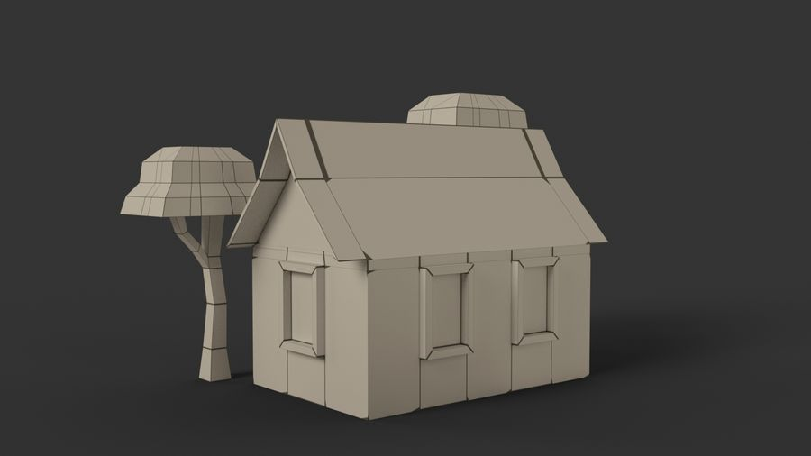 Cartoon House Low poly royalty-free 3d model - Preview no. 12