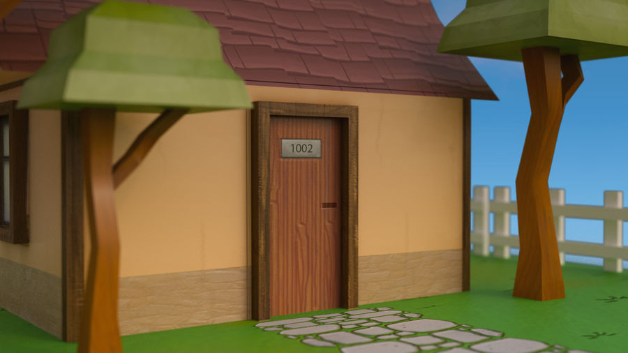 Cartoon House Low poly royalty-free 3d model - Preview no. 6