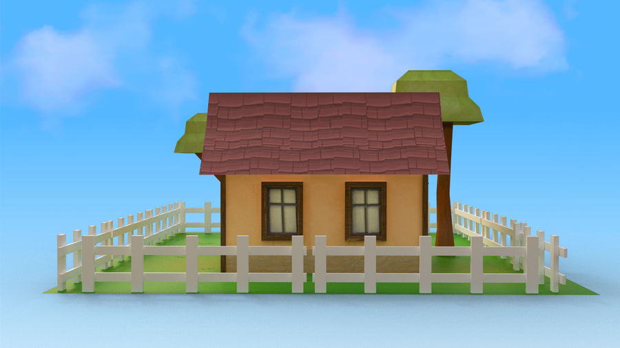 Cartoon House Low poly royalty-free 3d model - Preview no. 4
