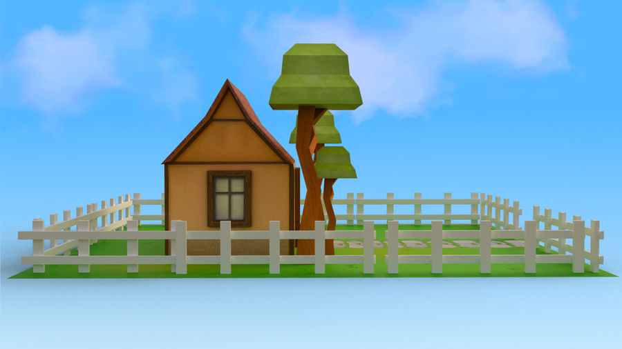 Cartoon House Low poly royalty-free 3d model - Preview no. 5