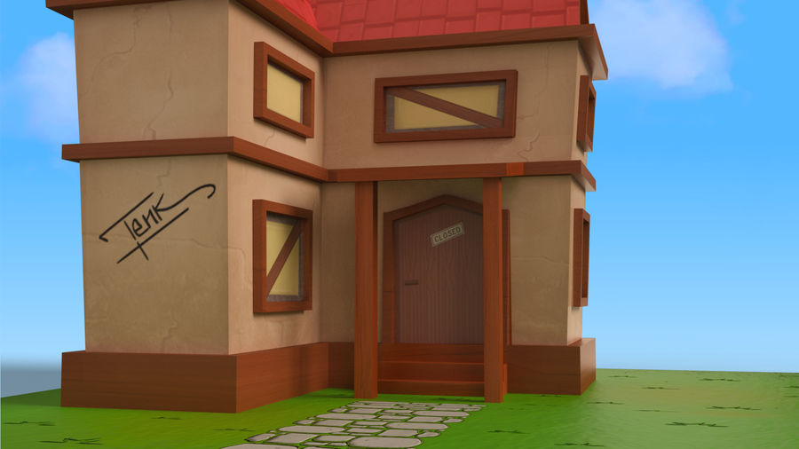 Cartoon House Low poly royalty-free 3d model - Preview no. 9