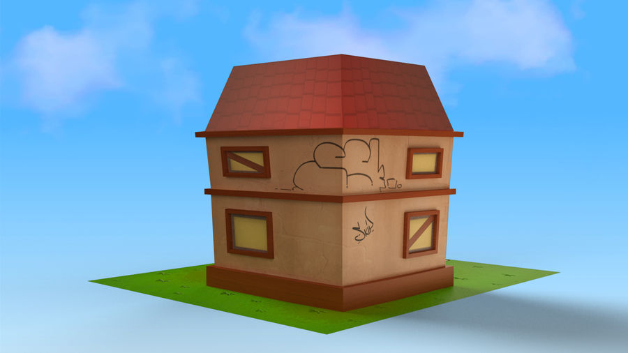 Cartoon House Low poly royalty-free 3d model - Preview no. 10