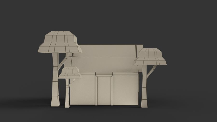 Cartoon House Low poly royalty-free 3d model - Preview no. 11