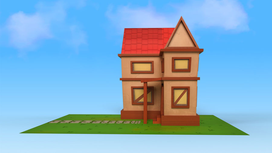 Cartoon House Low poly royalty-free 3d model - Preview no. 8