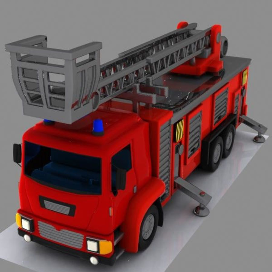 Cartoon Fire Truck 3 royalty-free 3d model - Preview no. 2