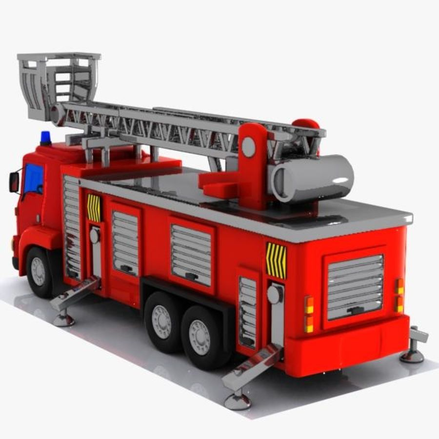Cartoon Fire Truck 3 royalty-free 3d model - Preview no. 6