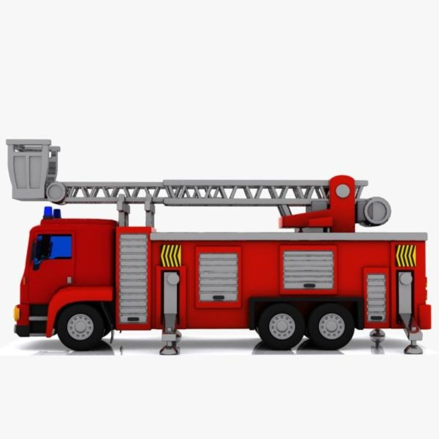 Cartoon Fire Truck 3 royalty-free 3d model - Preview no. 4