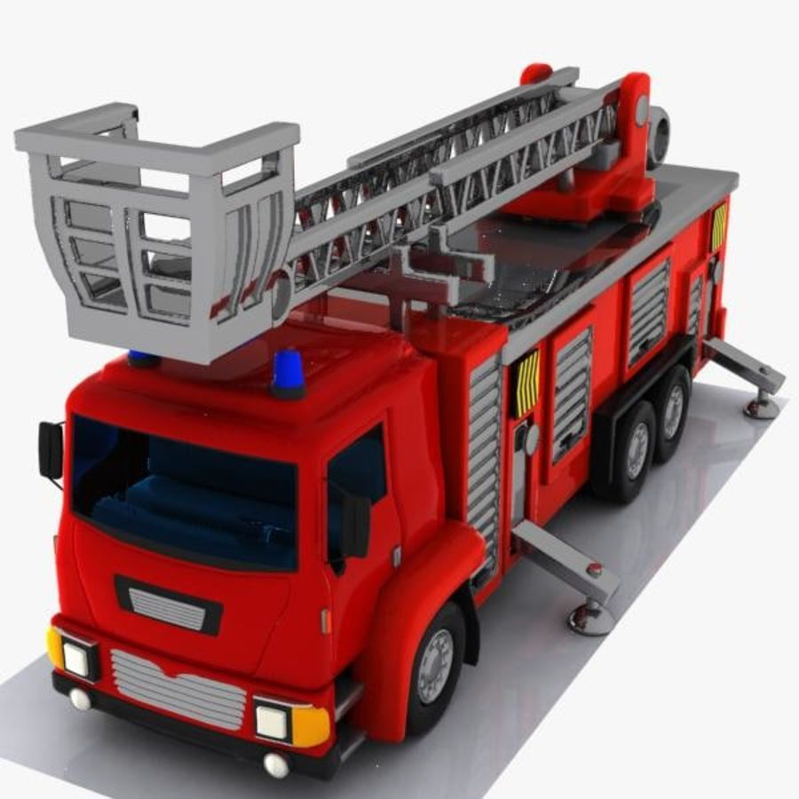Cartoon Fire Truck 3 royalty-free 3d model - Preview no. 1