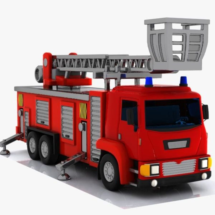 Cartoon Fire Truck 3 royalty-free 3d model - Preview no. 8
