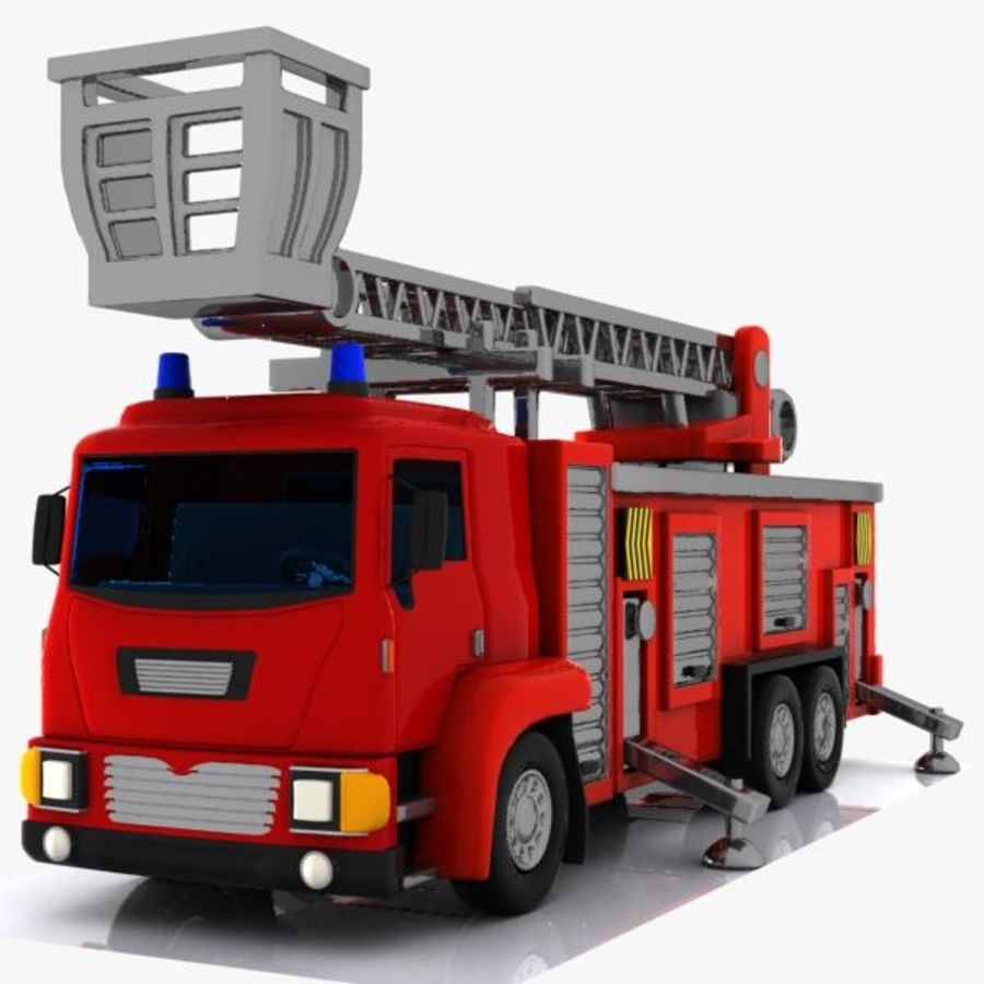 Cartoon Fire Truck 3 royalty-free 3d model - Preview no. 3