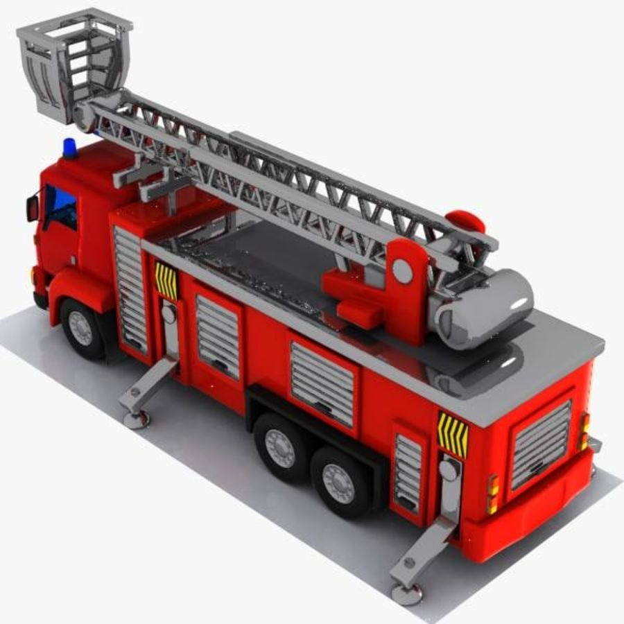Cartoon Fire Truck 3 royalty-free 3d model - Preview no. 5