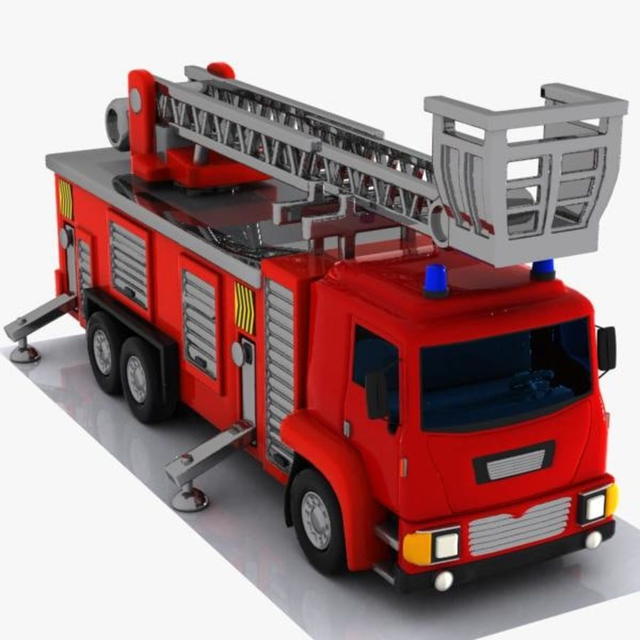 Cartoon Fire Truck 3 royalty-free 3d model - Preview no. 7