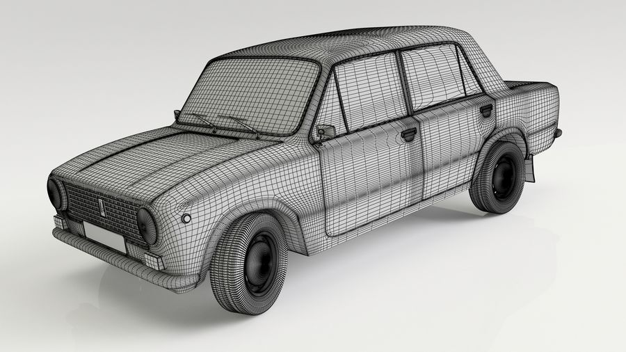 VAZ 2101 Red royalty-free 3d model - Preview no. 6