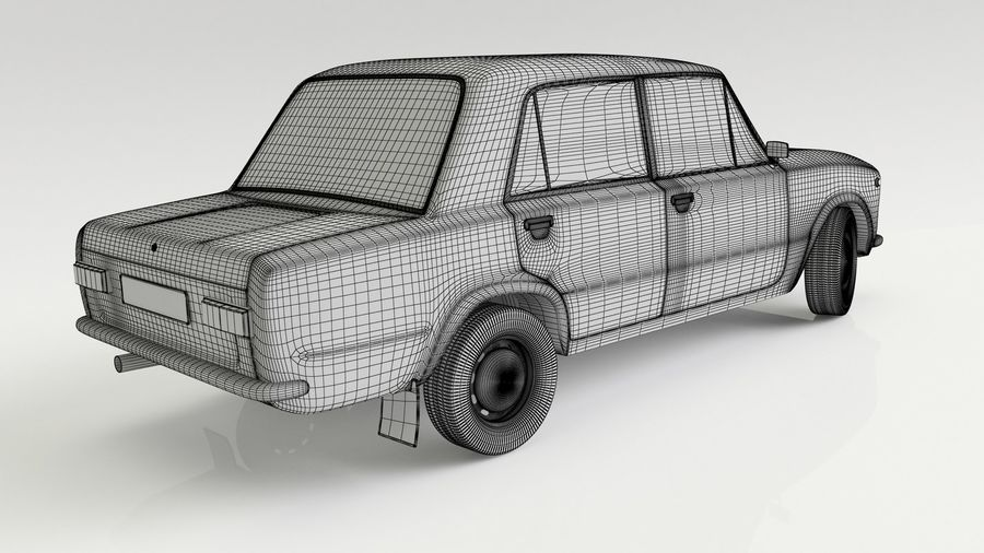 VAZ 2101 Red royalty-free 3d model - Preview no. 7