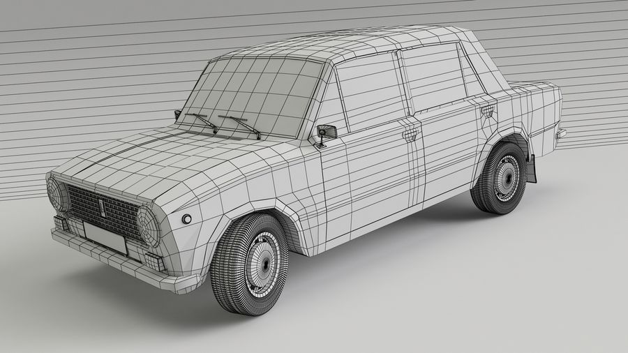 VAZ 2101 Red royalty-free 3d model - Preview no. 4