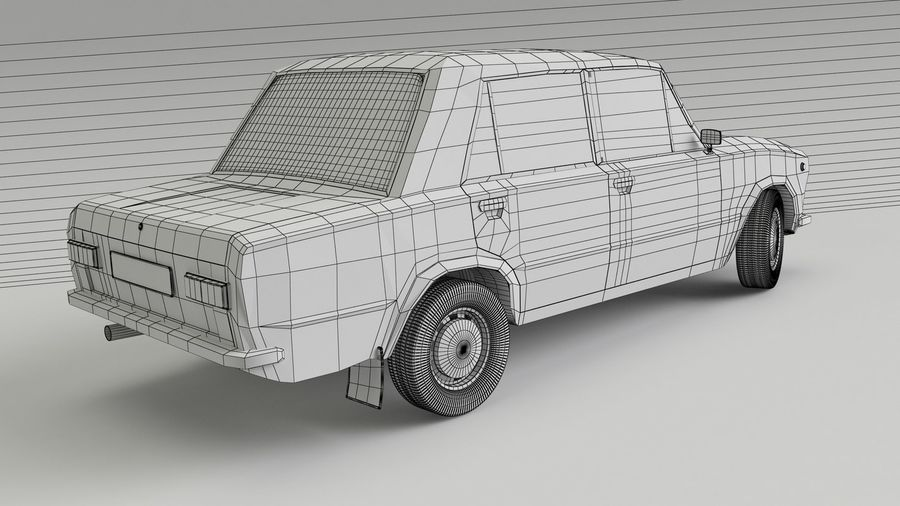 VAZ 2101 Red royalty-free 3d model - Preview no. 5