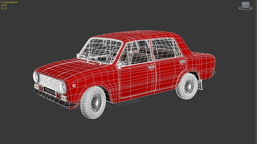 VAZ 2101 Red royalty-free 3d model - Preview no. 3